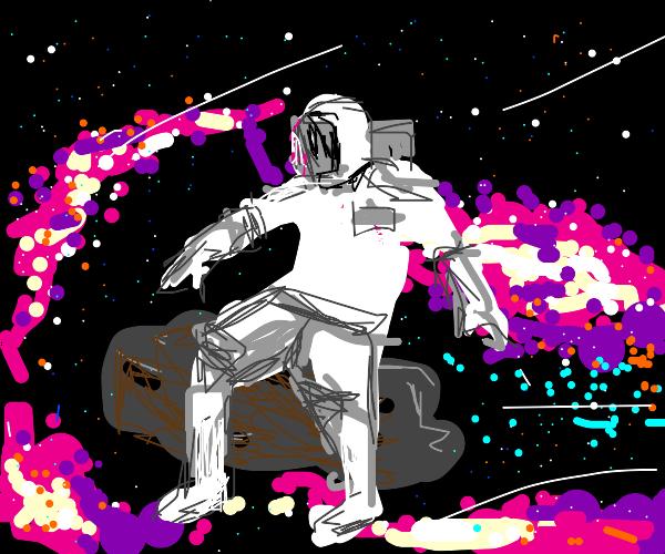 Astronaut riding an asteroid!