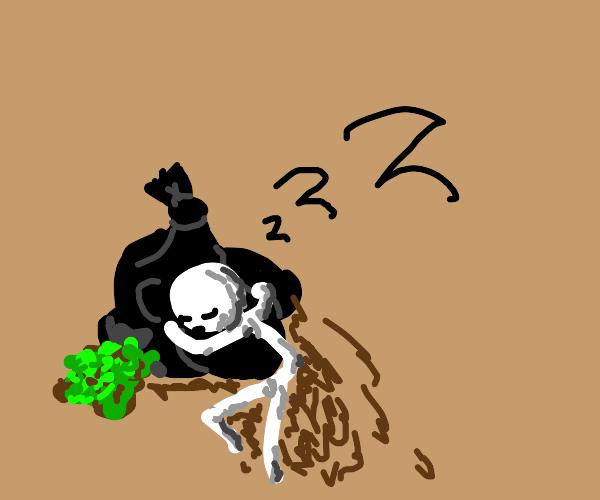 man sleeps with garbage