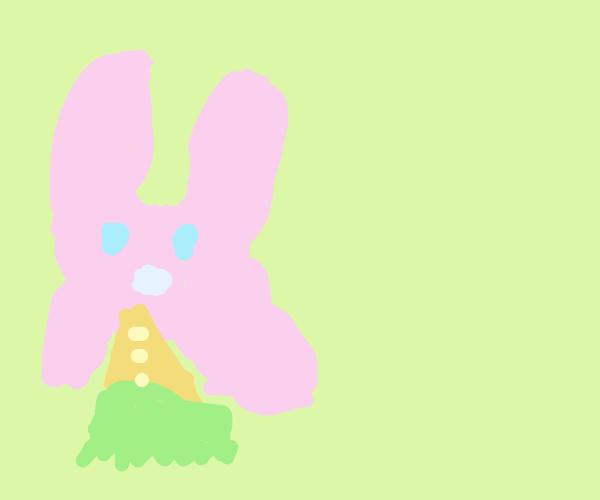 pink rabbit eats carrots