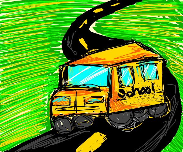 school bus driving on a sunny day