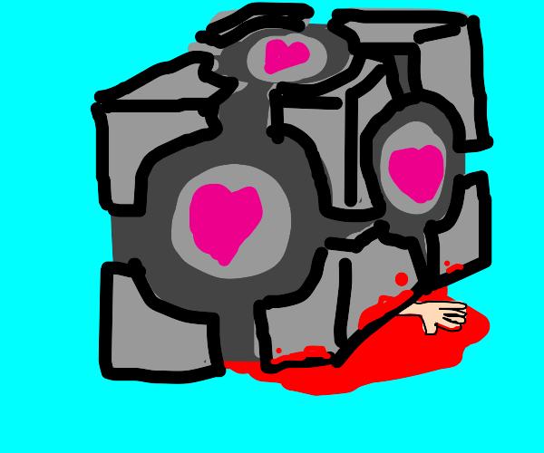 Giant Companion cube crushes man