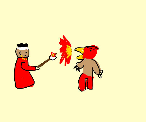Magician's Red roasting a marshmallow