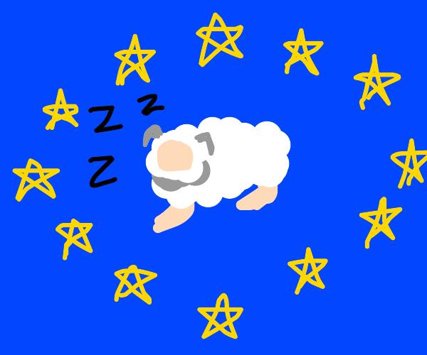 Sheep sleeps in EU Flag