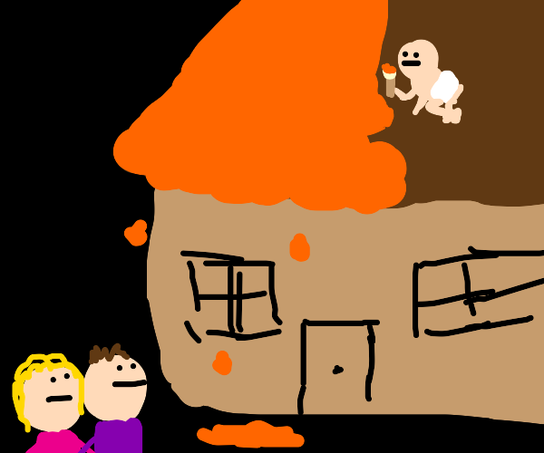 Baby on roof painting, parents are like wtf