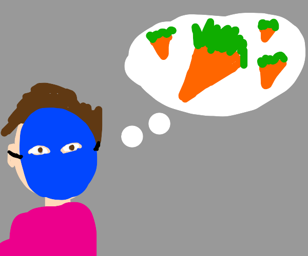 masked man thinks of carrots