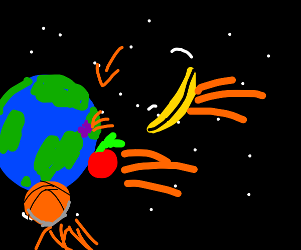 The fruit hurdles down to the earth