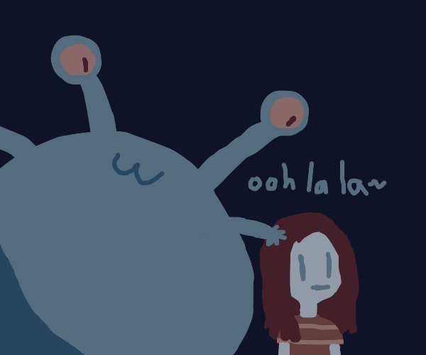 Alien touches girl's hair
