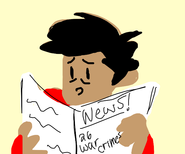 Man reads scary news about 26 war crimes
