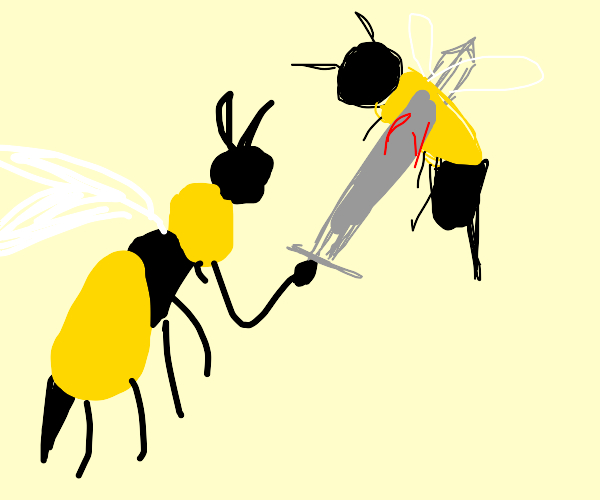 Bee killing another bee with a sword