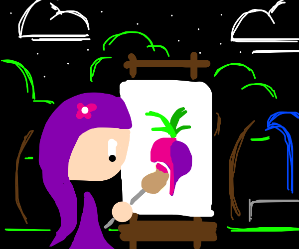 Kid paints a turnip
