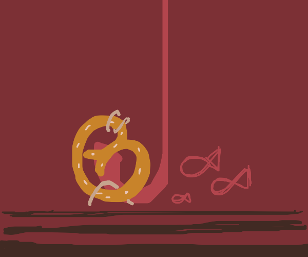 Pretzel and worm as a bait