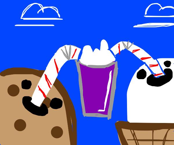 cookie and ice cream drinking milkshake