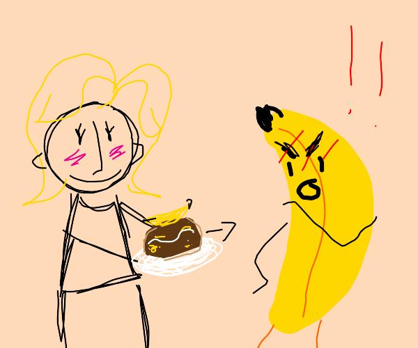 Woman gives banana cake to a actual banana!!