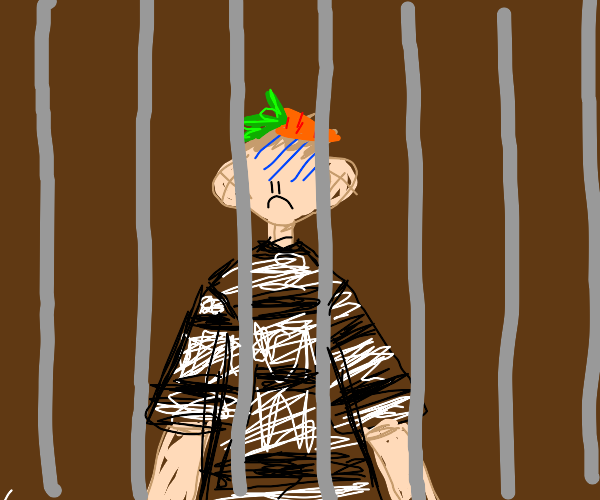 Sad prisoner with a carrot on his head