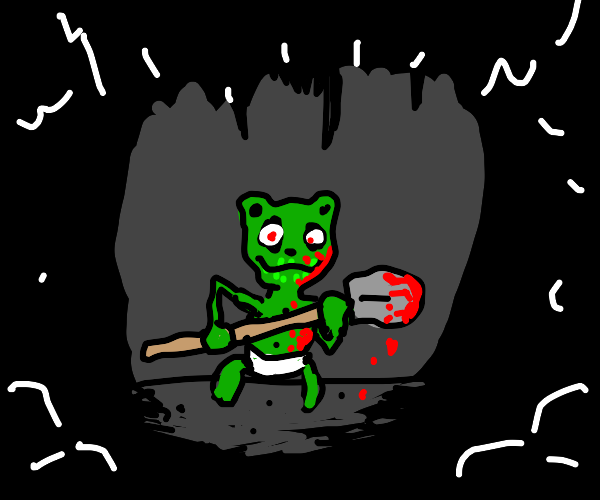 A bloody gummy bear holding a shovel in cave