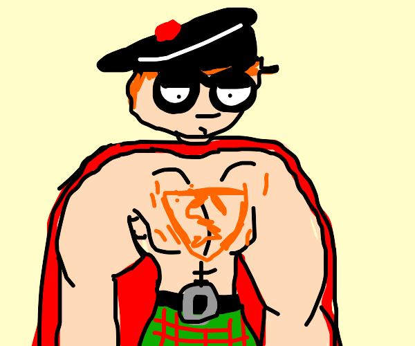 Scottish ginger superman wears kilt+balmoral