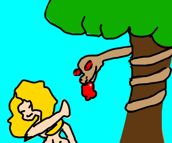 Eve rejects the fruit offered by the Snake