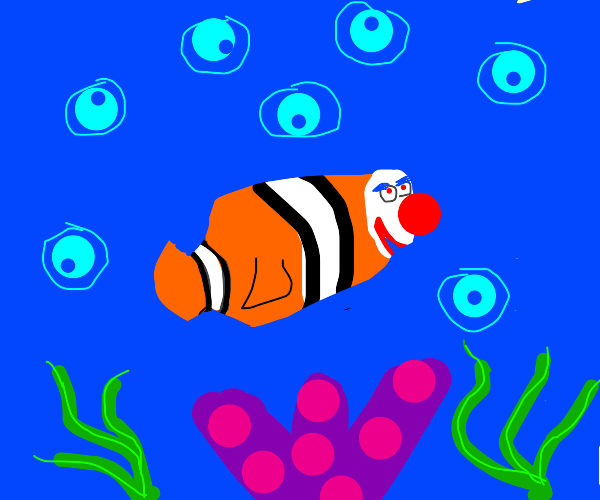 clown fish with human face