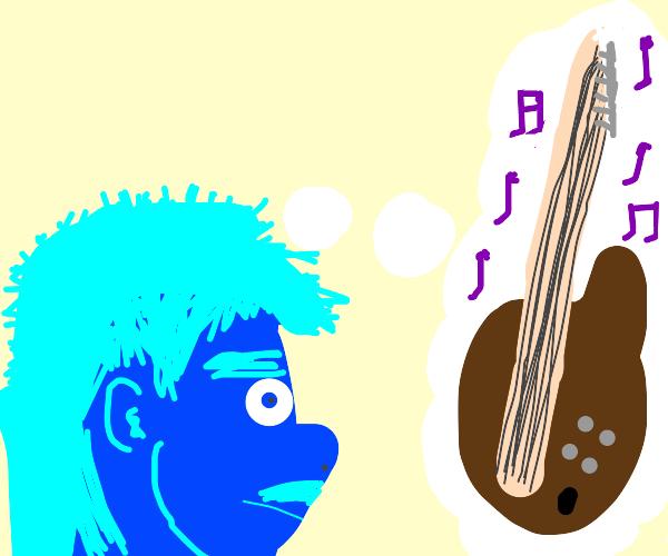 blue guy thinks of guitar music