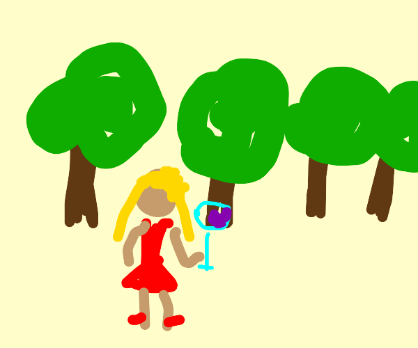 girl drinking in the woods
