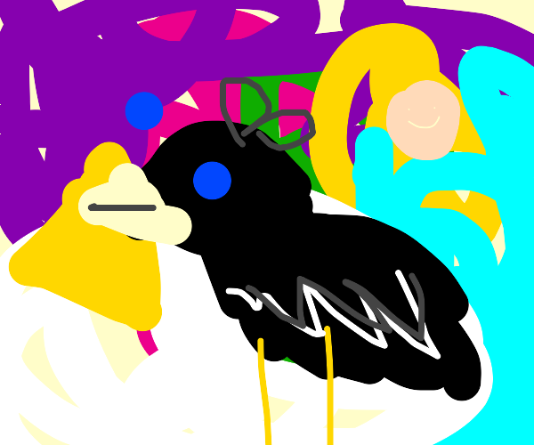 a blackbird in a realm of multicolored chaos