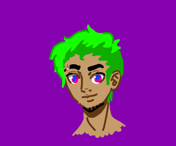 funky green haired dude