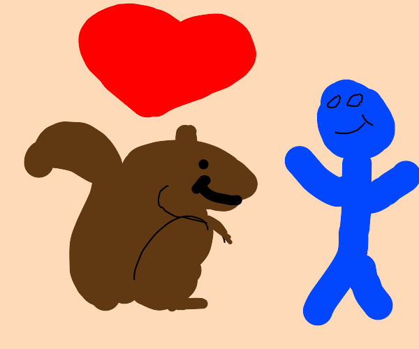 squirrel with unrequited love for blue man