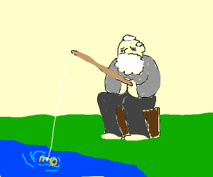 old man fishing gold key