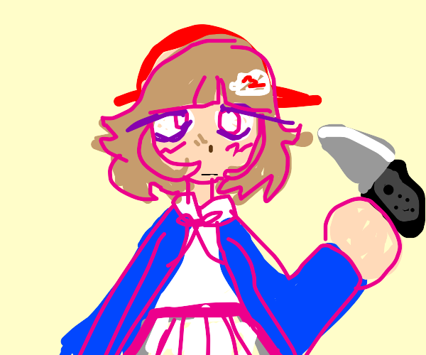 chiaki showing off her nintendo switch knives
