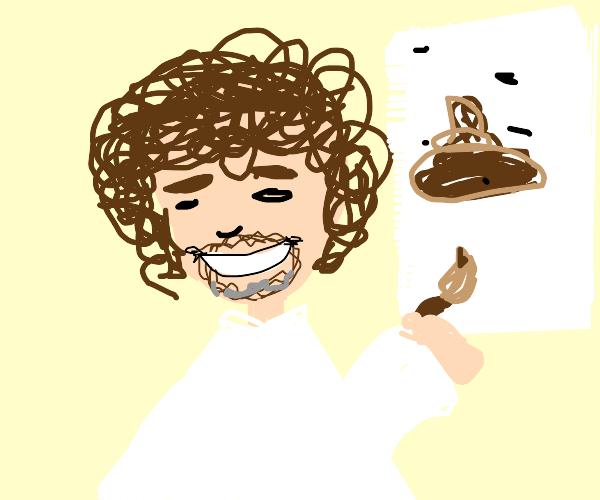 Bob Ross drawing poop