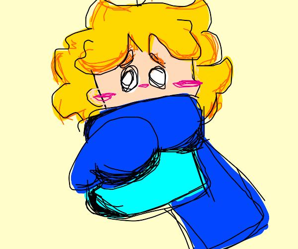 Blushing boy in oversized sweater