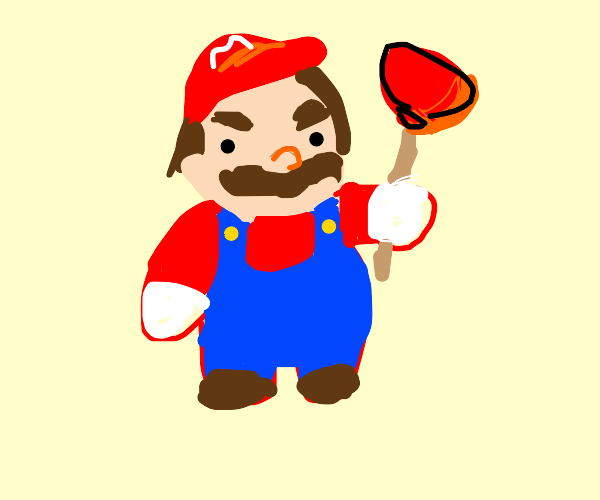 Mario with his... toilet plunger out.