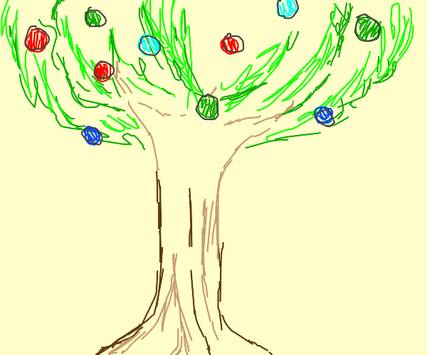 a tree with green, red, and blue thingys
