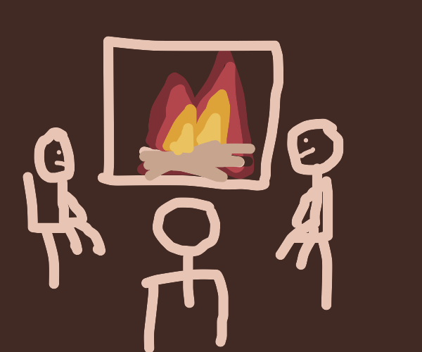 Three person sitting next to a fireplace.