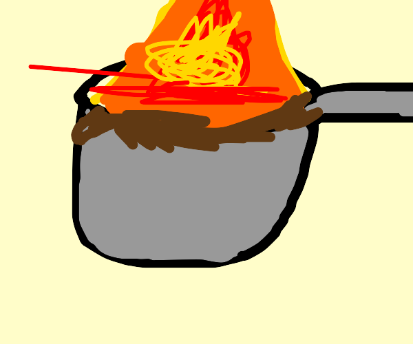 fire on poop-fueled pan