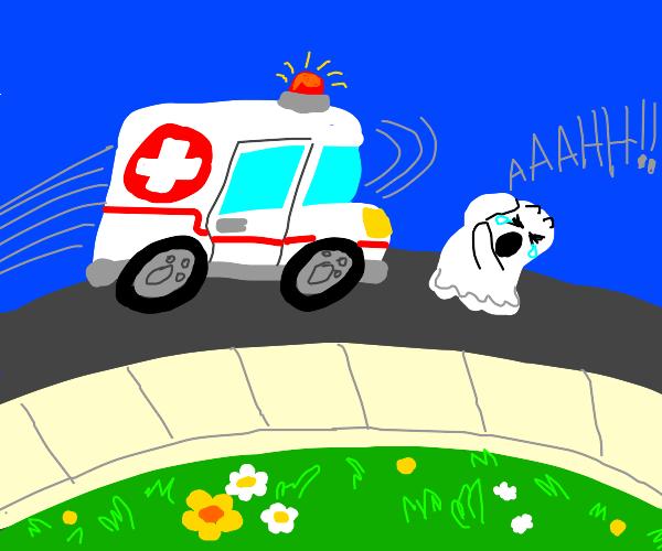 ambulance runs into a ghost