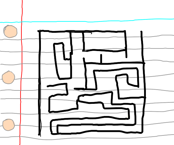 A maze on line paper