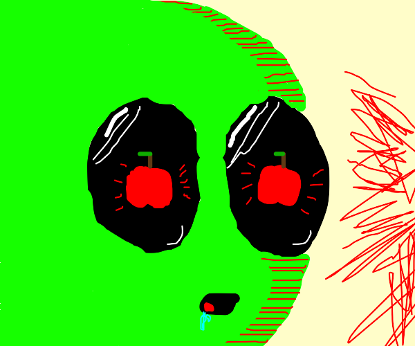 Caterpillar looks at apple with desire