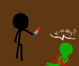 Green man killing a black man