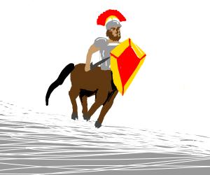 A centurion holding up a shield