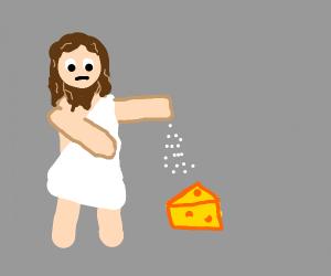 Jesus salting Cheese