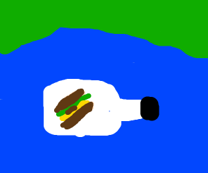 Sandwich in botle floating to deserted island