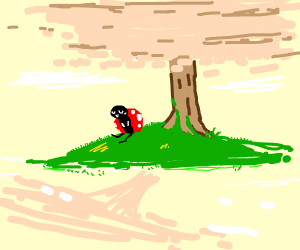 lonely bug sits alone by a tree
