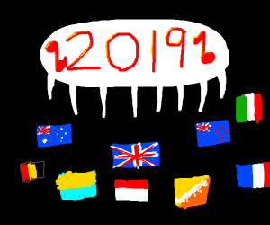 Country flags singing for 2019