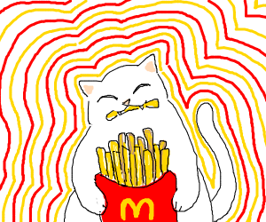 A cat eats french fries