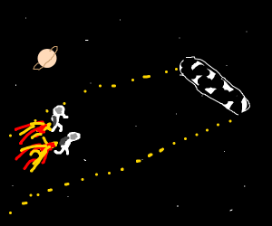 two space guys racing