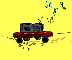 Radio riding on a skateboard
