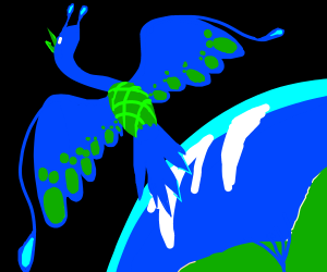 Blue space bird leaves earth