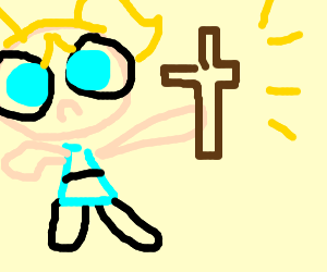The powerpuff girls with a cross