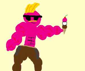 muscly punk w shades n mustache has ice cream